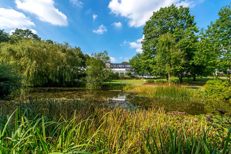 Blick auf den See der Klinik