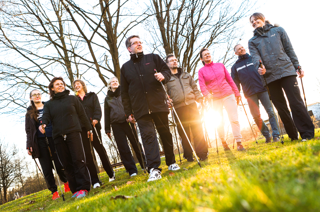 Mit der Nordic Walking Gruppe unterwegs